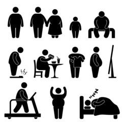 Fat Man Woman Kid Child Couple Obesity Overweight