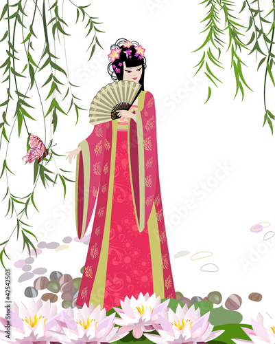 Foto op Canvas Bloemen vrouw Chinese landscape with girl