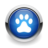 Animal paw print web blue button