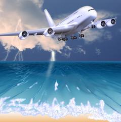 Landeanflug bei Gewitter