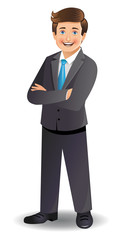 Young businessman standing with folded arms