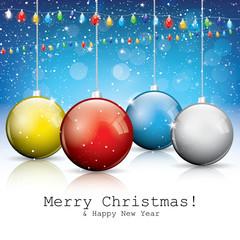 Christmas card with balls and lights