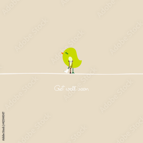 Green Bird With Crutch & Leg In Plaster Beige