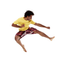 Joyful young man, jumping 6