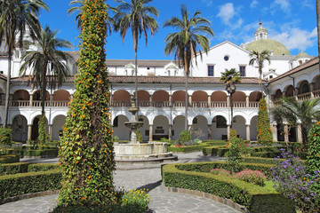 Courtyard at the church of San Francisco in Quito, Ecuador