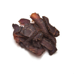 Biltong-(beef jerky) isolated on a white studio background.