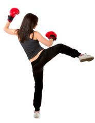 woman kick boxing position