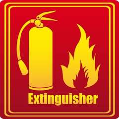 Silhouette of fire extinguisher with flare