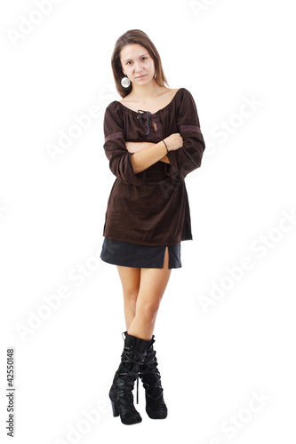 Fashionable brunette woman