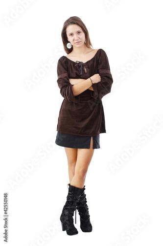 Fashionable brunette woman