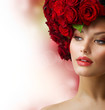 Fashion Model Portrait with Red Roses Hair