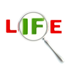 """Word """"life"""" under the magnifier isolated"""