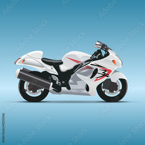 Fotobehang Motorfiets Vector motorcycle on blue background