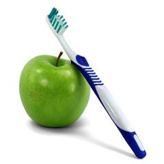 Apfel und Zahnbürste