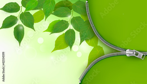 Nature background with green leaves and zipper.
