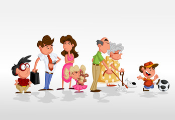 Cute happy cartoon family