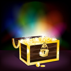 Chest full of gold coins - vector file