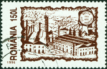 stamp printed by Romania, show old city scenery