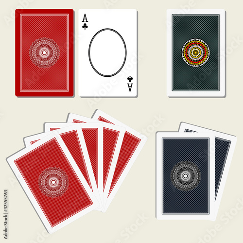 playing cards back side and blank ace
