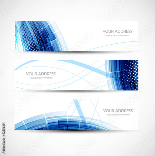abstract colorful blue wave header vector set