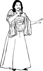the sketch of girl with a microphone that sings