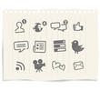 social network sign and icons on blackboard