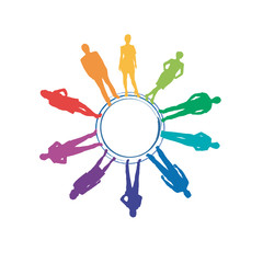 Rainbow Teamwork Background # Vector