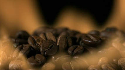 Coffee beans in fire, Slow Motion