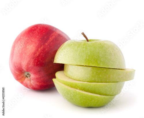 Red and green sliced apples