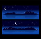 paysage urbain nocturne poster