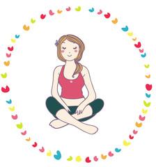 giovane donna si rilassa facendo yoga