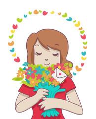 donna con mazzo di fiori e lettera romantica