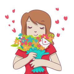 donna con mazzo di fiori e bigliettino romantico
