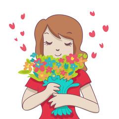 donna con mazzo di fiori