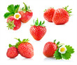strawberry berry with green leaf and flower isolated on white
