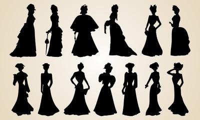 Elegant Victorian Women Silhouettes