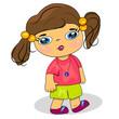 cartoon child walking illustration. little girl icon
