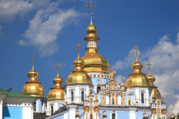 Golden cupolas with St. Michael's Cathedralin Kiev