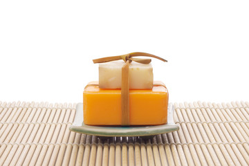 soaps on bamboo mat