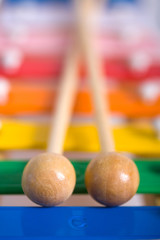 Colorful xylophone closeup