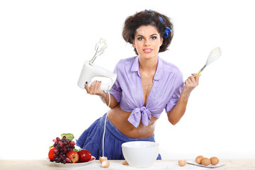 Photo of beautiful brunette on a kitchen in style of pinap