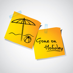 Drawing of umbrella on stick notes,holiday time concept