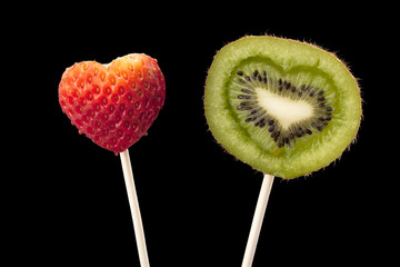 strawberry and kiwi in stick