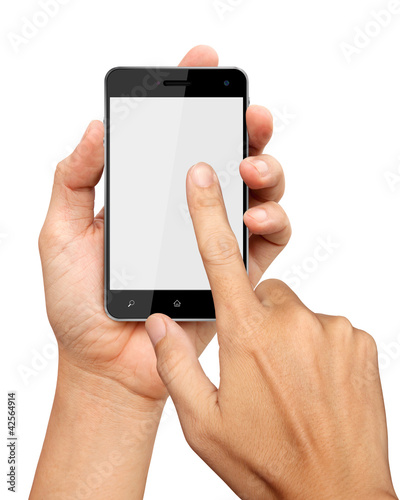 hands are holding and point on Smart Phone Isolated on white bac