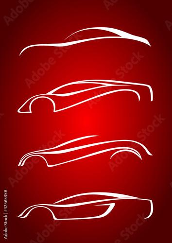 Kırmızı fonda otomobil seti