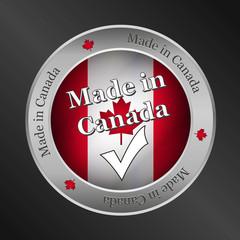 made in canada metallic vector button