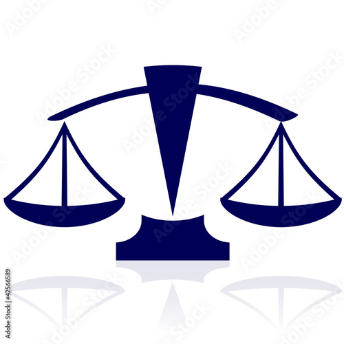 Justice scales - vector blue icon