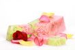 Handmade rose Soap closeup.Spa products