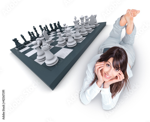 Woman and chess