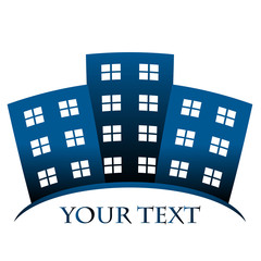 Vector blue symbol of buildings and space for your text